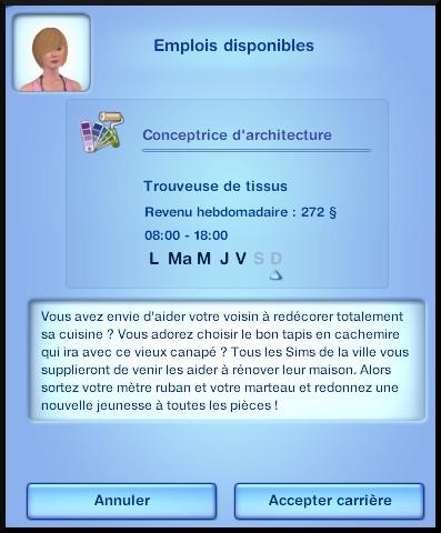 6 sims 3 ambition profession independante concepteur architecture opportunite emploi architecture