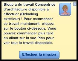 10 sims 3 ambition profession independante concepteur architecture message effectuer la mission