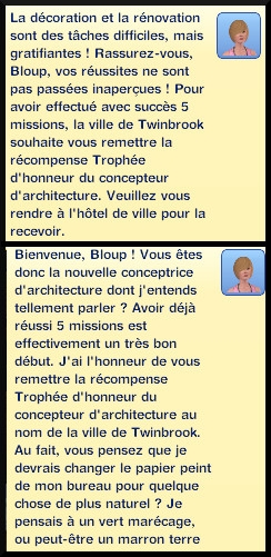 33 sims 3 ambition profession independante concepteur architecture trophee honneur message