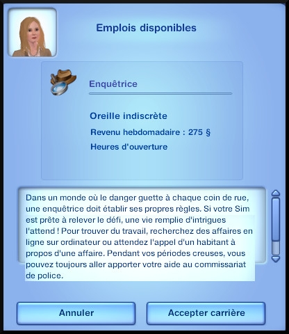 6 sims 3 ambition enqueteur opportunite demarrer emploi
