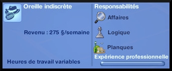 7 sims 3 ambition enqueteur panneau carriere progression