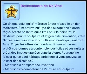 2 sims 3 ambition sculpture souhait long terme descendant da vinci