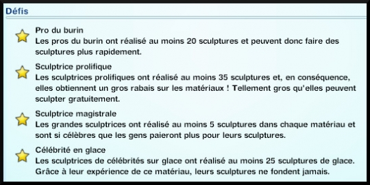 6 sims 3 ambition sculpture journal competence defis