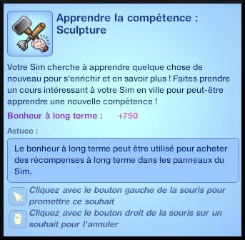 7 sims 3 ambition sculpture souhait apprendre competence