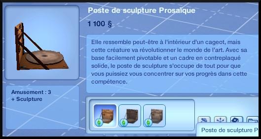 9 sims 3 ambition sculpture mode achat poste prosaique