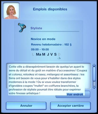16 sims 3 ambition carriere styliste tatoueur opportunite emploi
