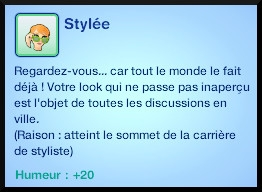 45 sims 3 ambition carriere styliste tatoueur moodlet niveau 10 stylee