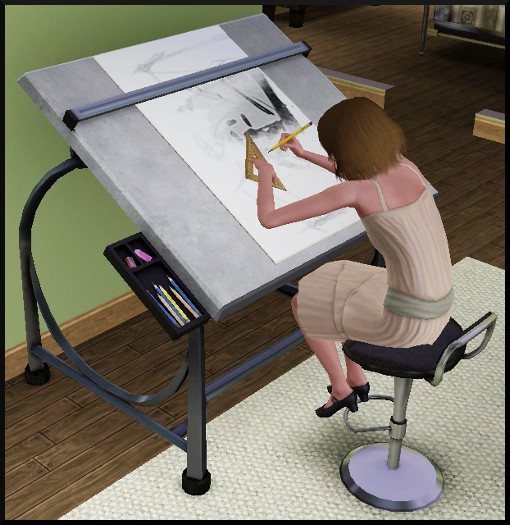 46 sims 3 ambition carriere styliste tatoueur dessin table croquis mode