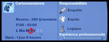 2 sims 3 ambition profession chasseur de fantomes horaire progression carriere