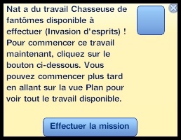 5 sims 3 ambition profession chasseur de fantomes message du travail disponible