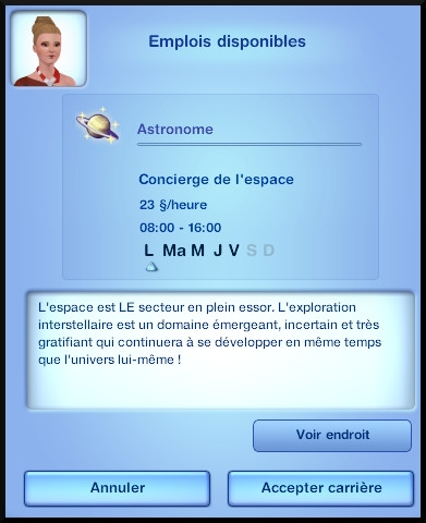 3 sims 3 en route vers le futur carriere astronome message début carriere