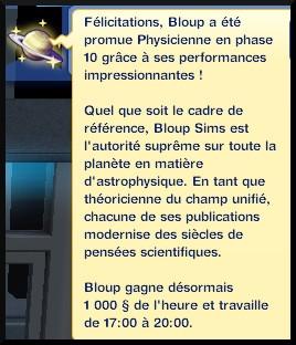 46 sims 3 en route vers le futur carriere astronome physicien en phase 10