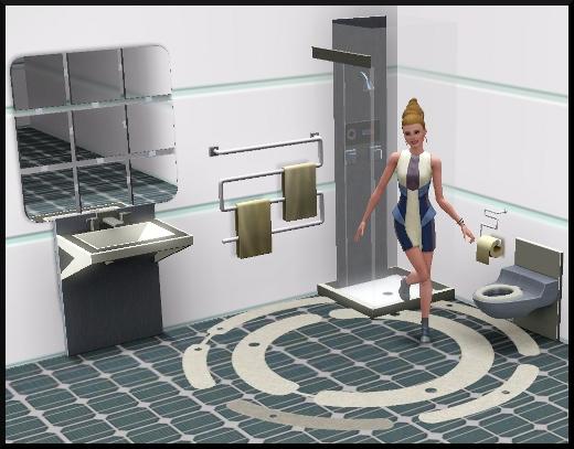24 sims 3 en route vers le futur CAS objets evier douche toilettes tapis miroir porte serviette