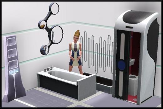 25 sims 3 en route vers le futur CAS objets douche sonique baignoire miroir tout en un