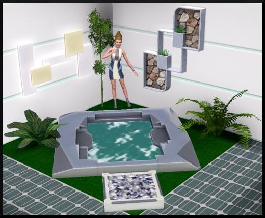 26 sims 3 en route vers le futur CAS objets bain à remous jacuzzi plante intérieur tapis vert