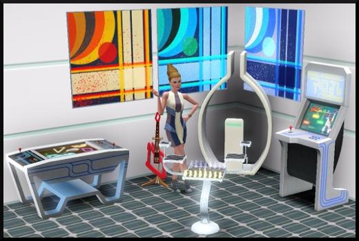 27 sims 3 en route vers le futur CAS objets jeux d'arcade chaine hifi échiquier tableau effet doppler