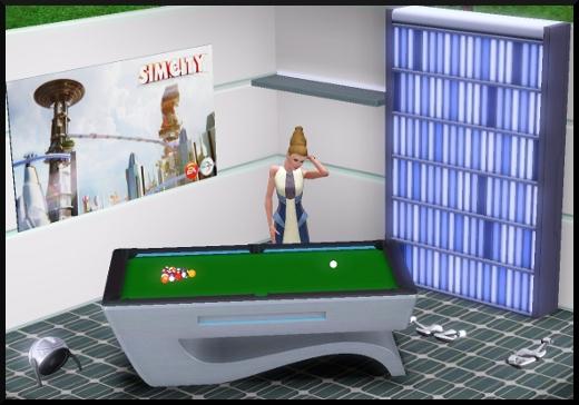 33 sims 3 en route vers le futur CAS objets billard bibliothèque affiche sim city