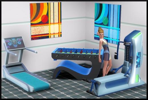 37 sims 3 en route vers le futur CAS objets machine sport babyfoot tableau doppler