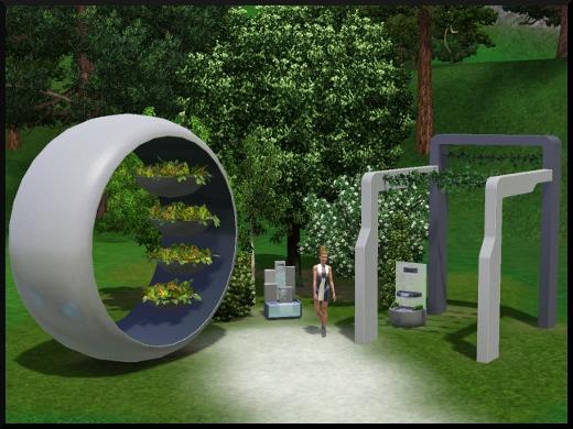 39 sims 3 en route vers le futur CAS objets plantes jardin sculpture fontaine