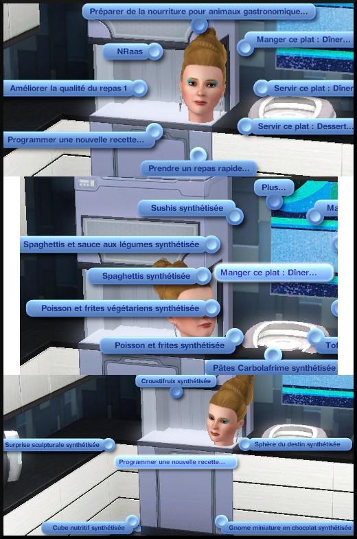 52 sims 3 en route vers le futur CAS objets synthétisateur nourriture interaction