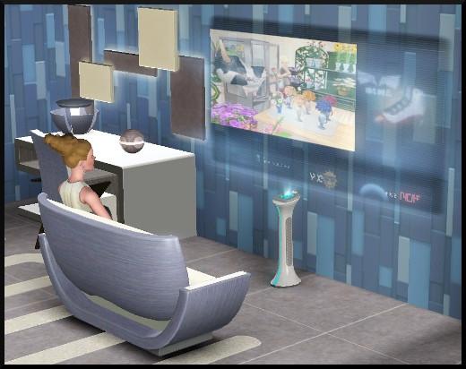 62 sims 3 en route vers le futur CAS objets télévision holographique
