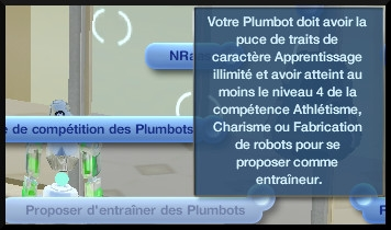 30 sims 3 en route vers le futur competition robot carriere stade robot interaction proposer entrainer plumbot