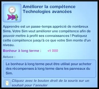 2 sims 3 en route vers le futur competence technologies avancees souhait divers