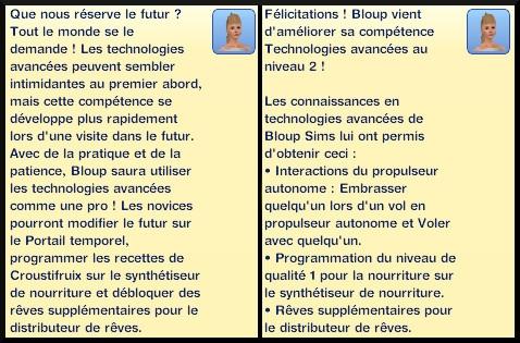5 sims 3 en route vers le futur competence technologies avancees niveau 1 2 message