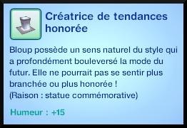 117 sims 3 en route vers le futur voyager dans le futur statue commémorative créateur de tendance socle vetement moodlet