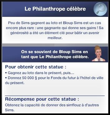 137 sims 3 en route vers le futur voyager dans le futur statue commémorative philantrope célebre