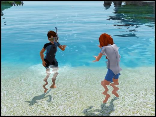 île de rêve enfants qui jouent dans l'eau