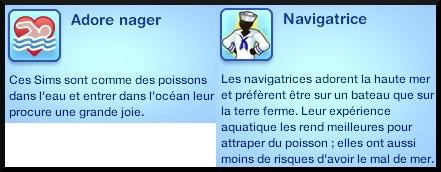 Sims 3 ile de reve nouveautes add on trait de caractre adore nager navigatrice marin