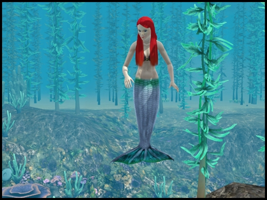 sirène cheveux rouges