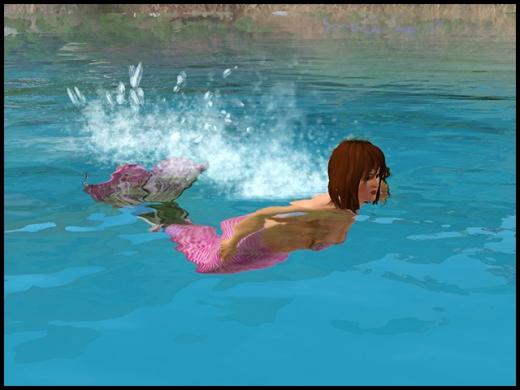 sirène qui nage
