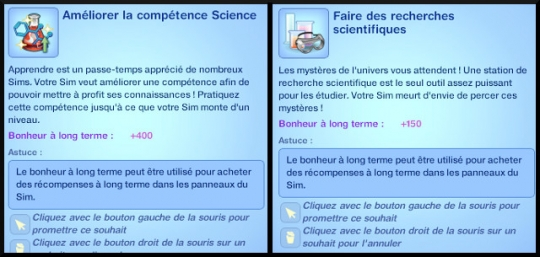 6 sims 3 universite competence science souhaits divers