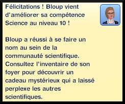 57 sims 3 universite competence science message niveau 10