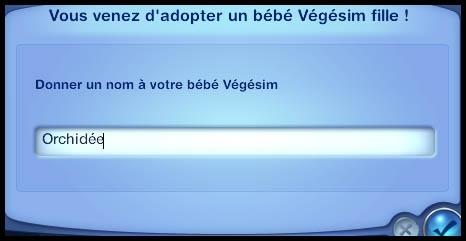 Sims 3 Université Végésims bébé nom