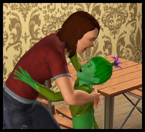 enfant végésims et parent sims enlacer