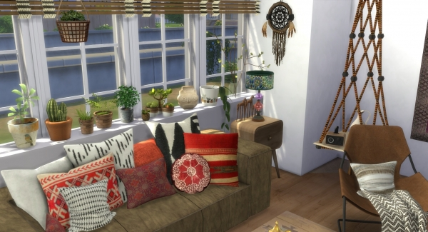 deco boh me chic boho decor custom content cc sims 4. Black Bedroom Furniture Sets. Home Design Ideas