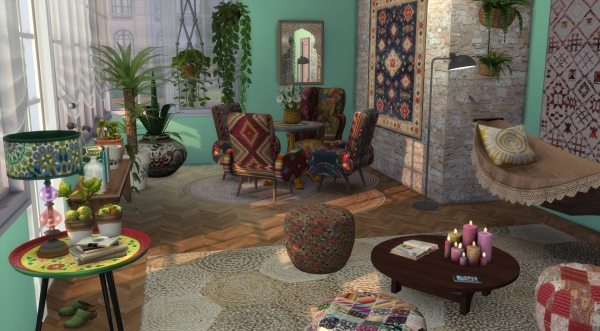 Deco boh me chic boho decor custom content cc sims 4 for Decoration maison boheme