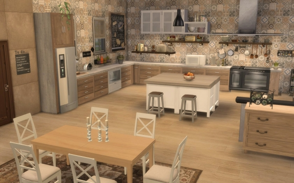 Sims 4 deco rustique cuisine kitchen chic moderne for Decoration cuisine rustique chic