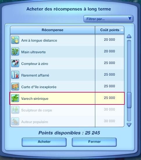 Sims 3 Île de rêve sirène varech
