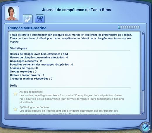 Sims 3 Île de rêve compétence plongée sous-marine