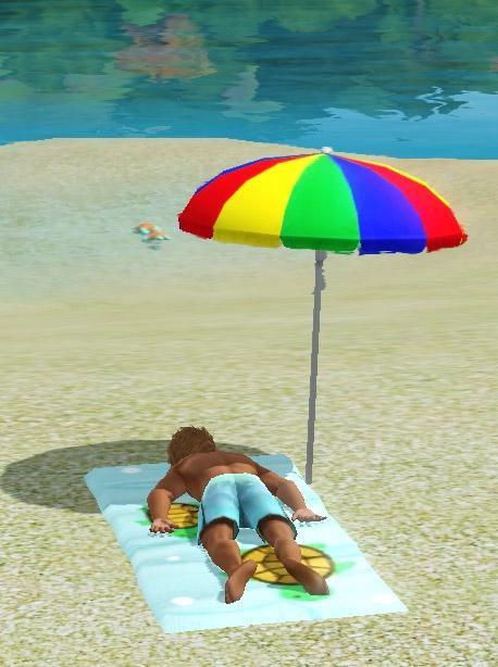 Sims 3 Île de rêve bronzer plage serviette