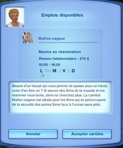 Sims 3 Île de rêve emploi maître nageur