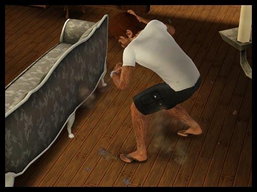 loup garou qui fait ses griffes sur le canapé