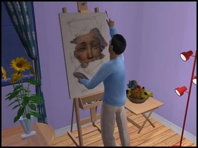 montsimpa sims 2 famille dourève darren peinture tableau atelier artiste