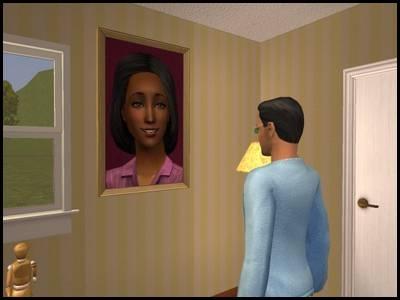 montsimpa sims 2 famille dourève darren darlène portrait tableau regarder