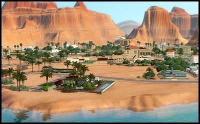 lucky palms monde sims 3 vue générale désert palmiers