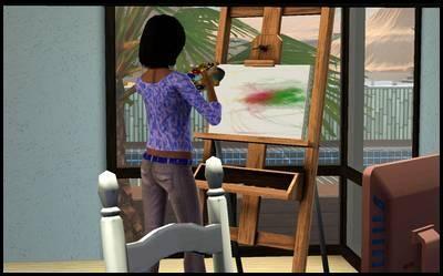 lucky palms monde sims 3 darleen matlapin peinture tableau loisirs